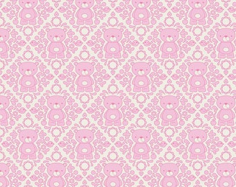 Riley Blake -Teddy Damask in Pink - your choice of cut