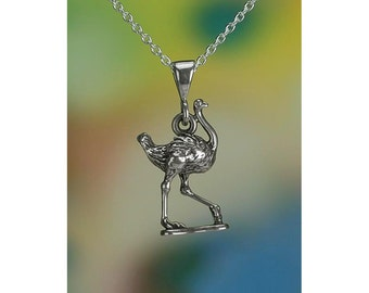 "Sterling Silver Ostrich Necklace 16-24"" Chain or Pendant Only .925"