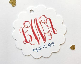 Monogram Paper Tags, Monogrammed Tags, Wedding Favor Tags (SC-155)