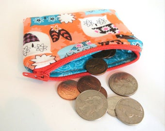 Zippered Coin Pouch - Coin Purse - Small Accessory Bag - Change Purse - Wallet