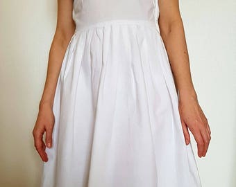 50s romantic white cotton dress