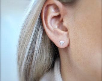 Geometric earrings, geometric jewelry, silver earrings, stud earrings, Triangle silver earrings, Silver Drop earrings, silver earrings