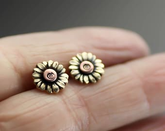 Sunflower Earrings, Sunflower Studs, Stud Earrings, Flower Earrings, Boho Flower Earrings, Post Earrings, Yellow Sunflowers, Womens Studs