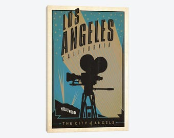 Los Angeles Art Print, Los Angeles Skyline, Downtown Los Angeles Print, Hollywood California, City of Angels, LA CA, Travel Canvas Wall Art