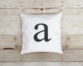 Small Letter, Pillow Cover, Personalized Initial pillow, Custom Colors, lowercase letter, Monogram pillow. applique letter, little initial