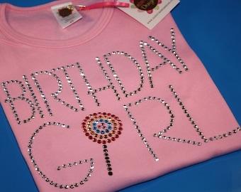 BIRTHDAY GIRL with lollipop rhinestud  tee by Daisy Creek Designs