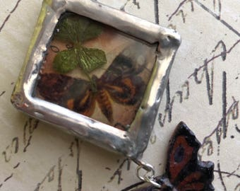 Soldered Shadow Box Pendant with Four Leaf Clover