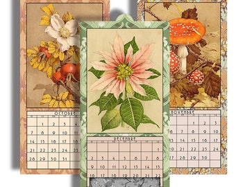 "HALF PRICE  2018 Digital Calendar in French Printable Downloads 4.8"" X 10"" Pages Antique Floral Images 12 Different Images  2018 CAL 21"