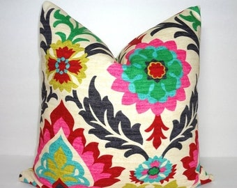 SIZZLING SUMMER SALE Waverly Santa Maria Desert Flower Pillow Cover Decorative Throw Pillow Cover Red Pink Black 20x20