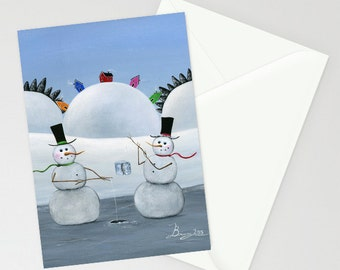 Hilly Hole in the Ice - Folk Art Winter Christmas Card w/ 2 Snowman Ice-Fishing in front of jellybean houses on a hill