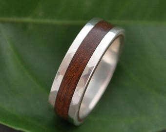 Hammered Lados Nacascolo Wood Ring with Recycled Sterling Silver - ecofriendly wood wedding band, wood wedding ring, mens wood ring