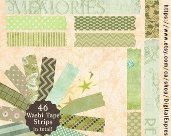 Green Vintage Pattered Digital Washi Tape, Pattern Paper, printable craft art, hobby crafting, scrapbooking Embellishments, instant download