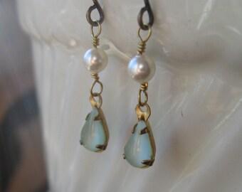 Brass dangle earrings, moonstone glass,  freshwater pearl, vintage glass, soft green