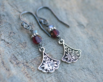 Garnet, Labradorite Gemstone, Sterling Silver Lotus Flower Earrings, Red and Gray Gemstone Earrings, Lotus Flower Earrings, Yoga Jewelry