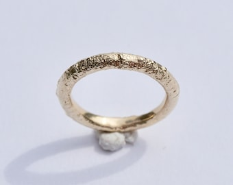 Dainty Sand Cast Ring Band 9ct yellow Gold