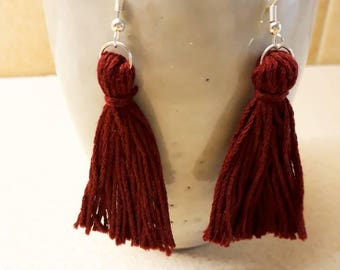 Maroon Tassel Dangle Earrings