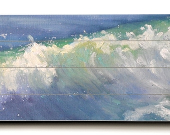 Seascape Giclee Print on Wood Plank, Wave Painting Print, Free Shipping, Choose your Size, Ready to Hang, No Frame Needed