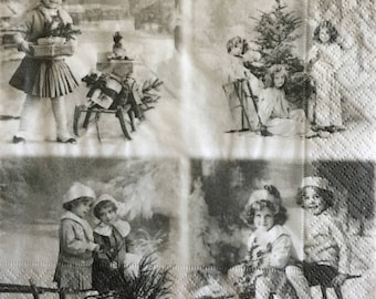 Decoupage Paper Napkins - 4 pc - Ephemera , Scrapbooking, Card making, Collage,  Altered Art and Crafts