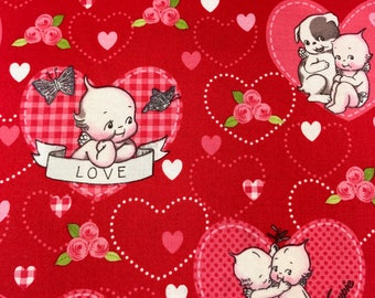 Valentine fabric, Pink and Red Hearts Kewpie fabric by Riley Blake 100% cotton for Quilting and general sewing projects.