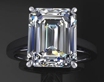 naked mia ring – 3.5 carat emerald cut NEO moissanite engagement ring, solitaire engagement ring