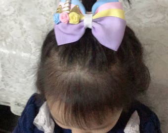 """1PC 3""""girl baby Hair Bow unicorn bow mulit color rose flower clips hair pin 2828"""