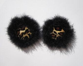 Leopard Jacket burlesque pasties Velvet nipple covers Black feather boa trim tassels Fluffy pasties Erotic lingerie Custom made lingerie