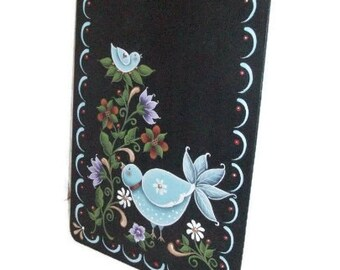 Hand Painted Clipboard | Bluebirds on Black Clipboard