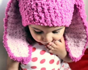 6 to 12m Raspberry Pink Baby Hat, Animal Beanie Bunny Hat, Bunny Beanie, Baby Girl Hat, Dark Pink Baby Pink Bunny Photo Prop Easter Gift