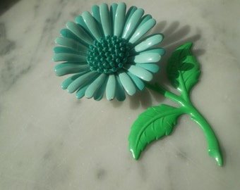 SALE Blue and Green Flower Pin
