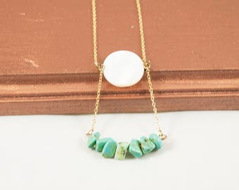 Stone and Shell Bar Necklace