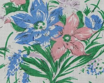Pink & Blue Spring Bouquet of Flowers Cotton Vintage Hankie Handkerchief