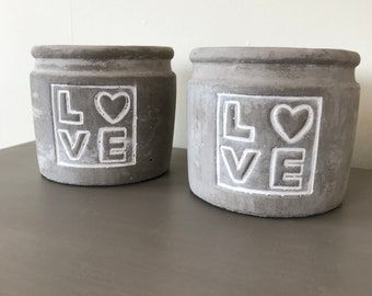 Set of two LOVE candle or flower pots