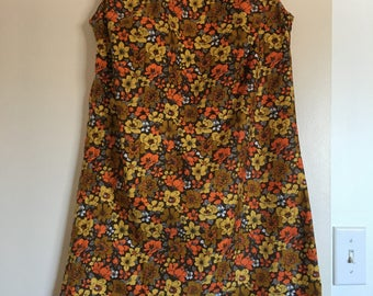 Cute vintage 1960s floral mini shift dress autumn fall orange yellow brown