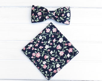 Navy Pink Floral Bow tie, Pocket Square, Mens Bowtie, Groom Groomsmen BowTie, Mens Handkerchief, Floral Bow Tie for Wedding
