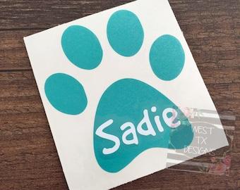 Paw Print Decal | Dog Decal | Dog Print Name | Personalized Paw Print | Animal Decal | Dog Car Decal | Vinyl Decal | Dog Love | Animal Paw