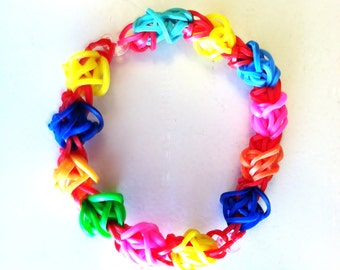 TULIPS EVERYWHERE, Rainbow Loom Tulip Tower Bracelet, Full-Sized.  2 Tulip Tower Bracelets linked together with a clip on each side.