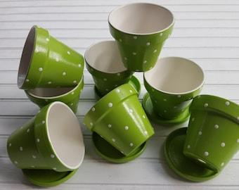 Painted Flower Pots - Polka Dots - Garden Weddings - Wedding Favors - Flower Pot Favors - Baby Shower Favors