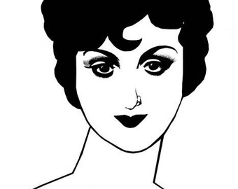 flapper girl woman 1920s printable art print retro clipart png pinup digital download image graphics beauty makeup black and white artwork