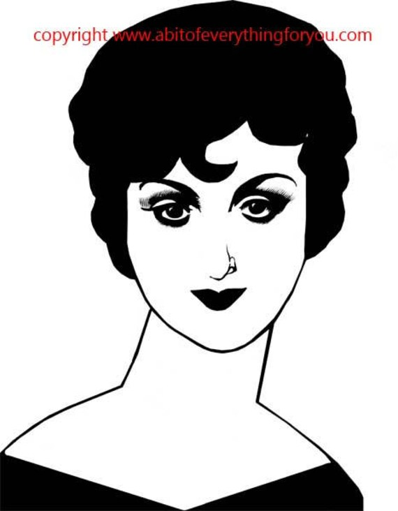 flapper girl 1920s woman printable art print retro clipart png pinup digital download image graphics beauty makeup black and white artwork