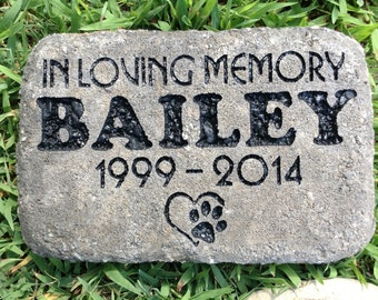 Pet memorial personalized 8 1/2 x 5 1/2 inch dog or cat sandcarved stone paver brick