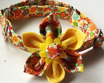 Yellow & Orange Summer Flower Martingale Collar With Extra D Ring
