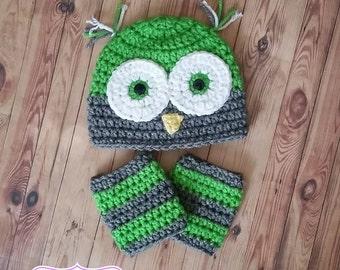 Owl Crochet Hat w/ leg warmers 0-3 months