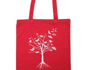 Red Butterfly Tree Tote Bag