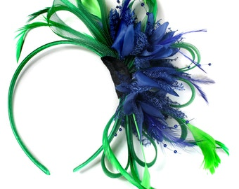 Emerald Green & Royal Blue Feathers Fascinator on Headband