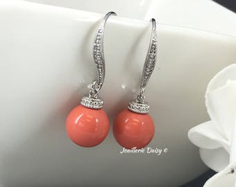 Bridesmaid Gift Coral Earrings Swarovski Earrings Bridal Earrings Bridesmaid Earring Wedding Jewelry Maid of Honor Gift for her