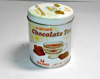 Chocolate Tea Tin,Boston's Chocolate Tea Tin,Indian Tea Tin,Imported Tea Tin,Kitchen Tea Tin,Kitchen Chocolate Tea Tin,Advertising Tea Tin