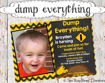 Dump Everything! Construction/Dump Truck Birthday Party Invitation