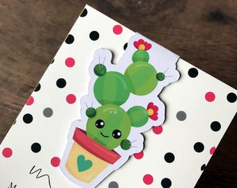 One Magnetic Bookmark/Page Marker. Cute Cactus 3