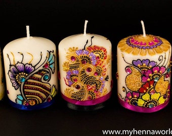 Set of 5 henna candles/ bridal shower / henna party / housewarming / holiday gift/ mehndi favors / thanksgiving gifts / christmas gift
