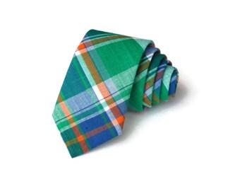 Madras Necktie~Anniversary Gift~Wedding Tie~Boys Necktie~Mens Necktie~Wedding~Mens Tie~Boys Tie~Florida Gators Tie~Blue Green Orange